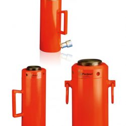 Double acting hydraulic cylinders with lock nut